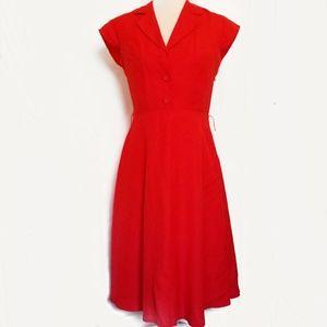 Calvin Klein size 4 red linen dress 50s style